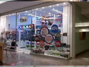Adesivação de Vitrine Flex no Shopping São Bernardo